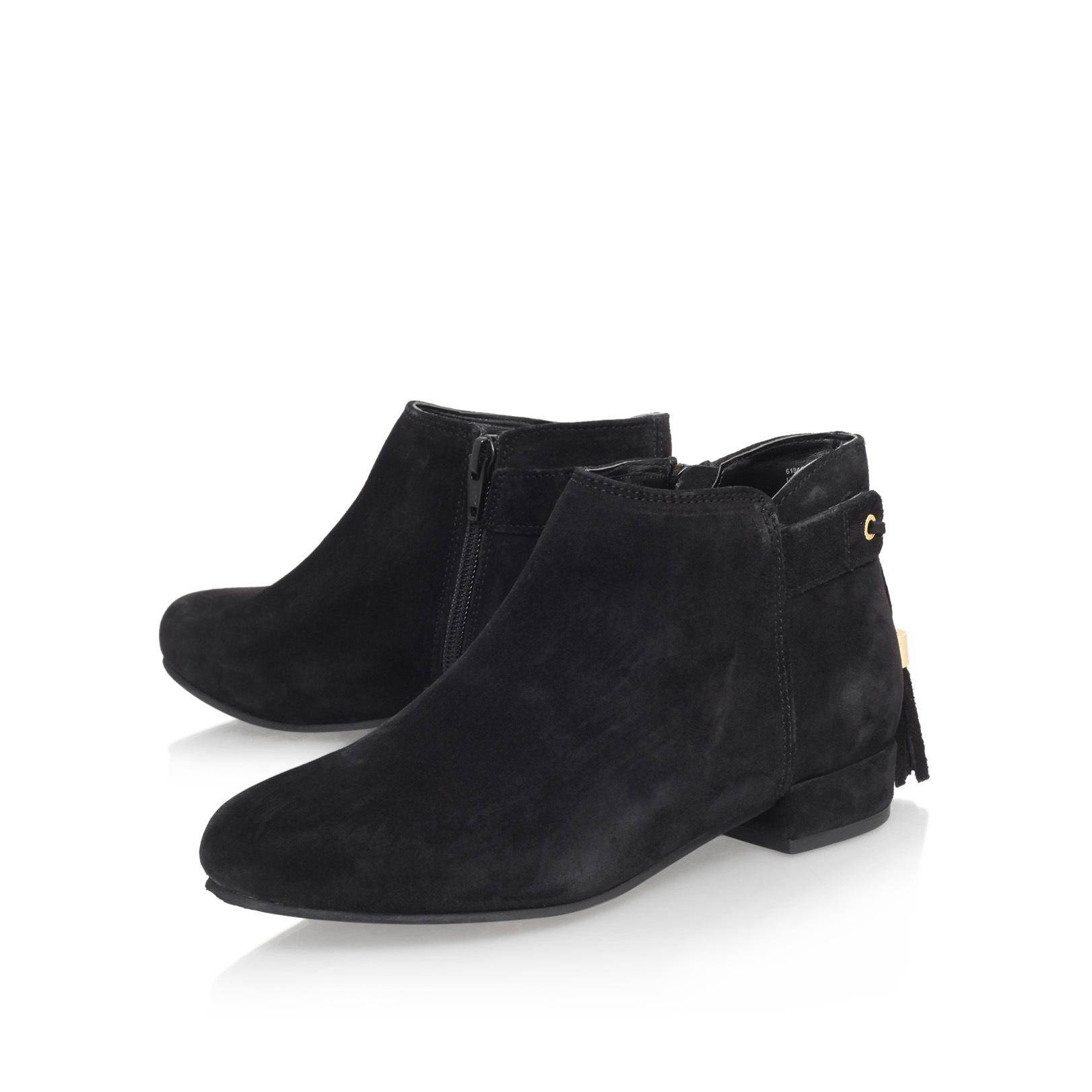 Carvela Kurt Geiger Leather Tassel Flat Ankle Boots in Black