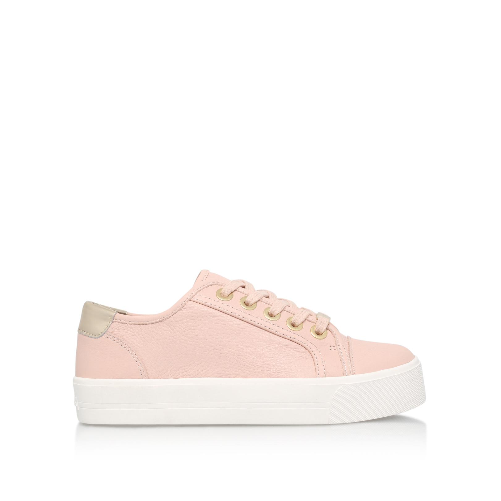 Carvela Kurt Geiger Leather Lorna Flat Lace Up Sneakers in Nude (Pink)