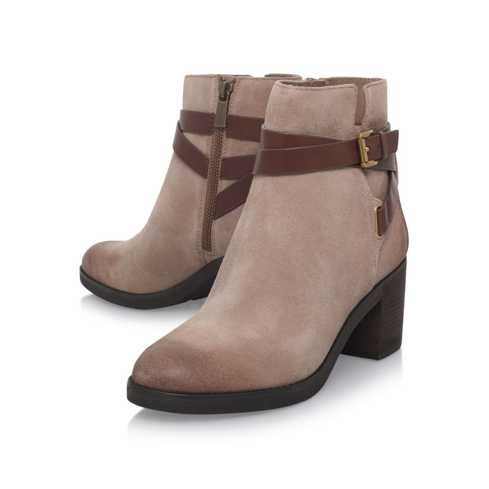 MICHAEL Michael Kors Fawn Bootie Taupe Suede Ankle Boots in Brown