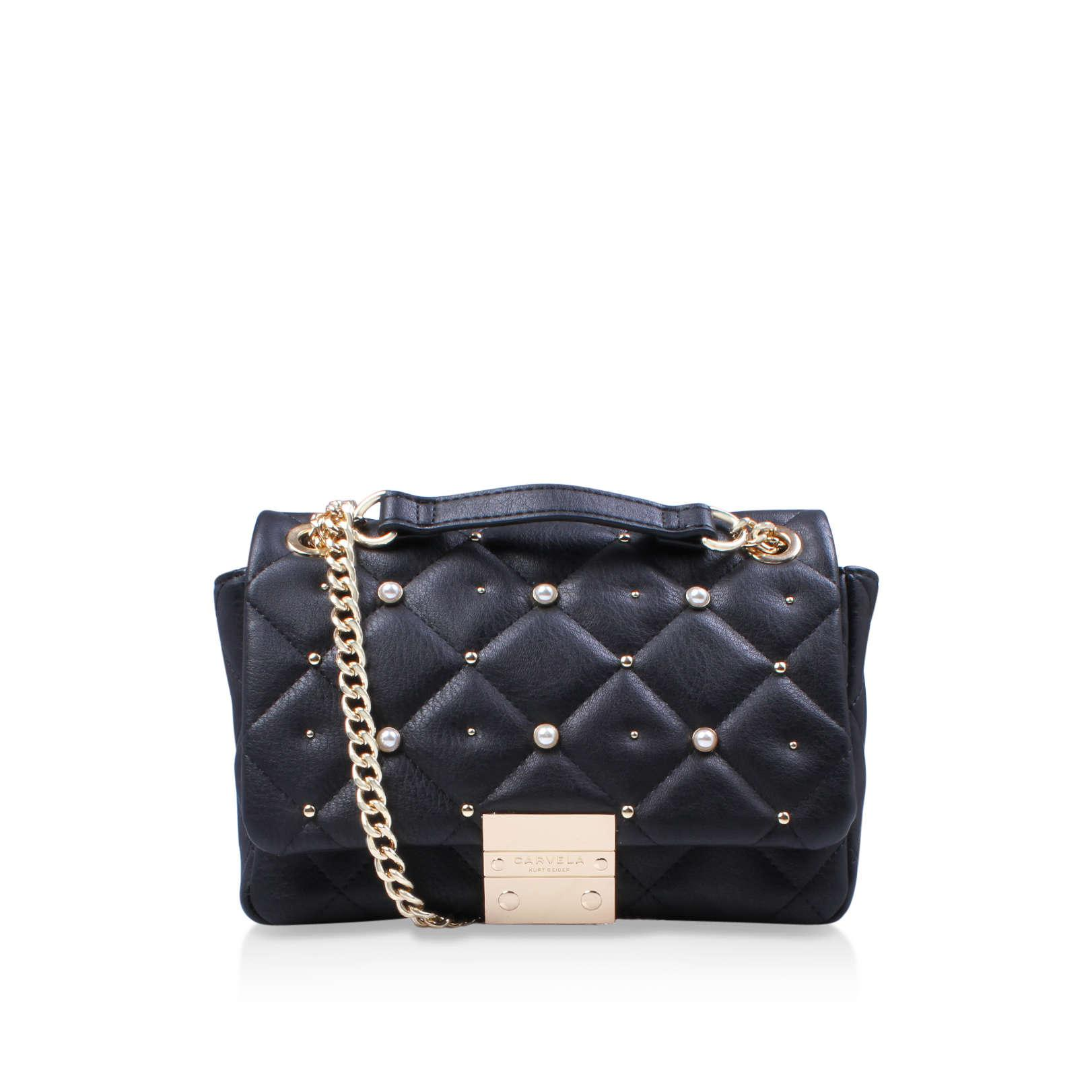 Carvela Kurt Geiger. Women's Black Sadie Quilted Bag Handbag With Shoulder  Chain