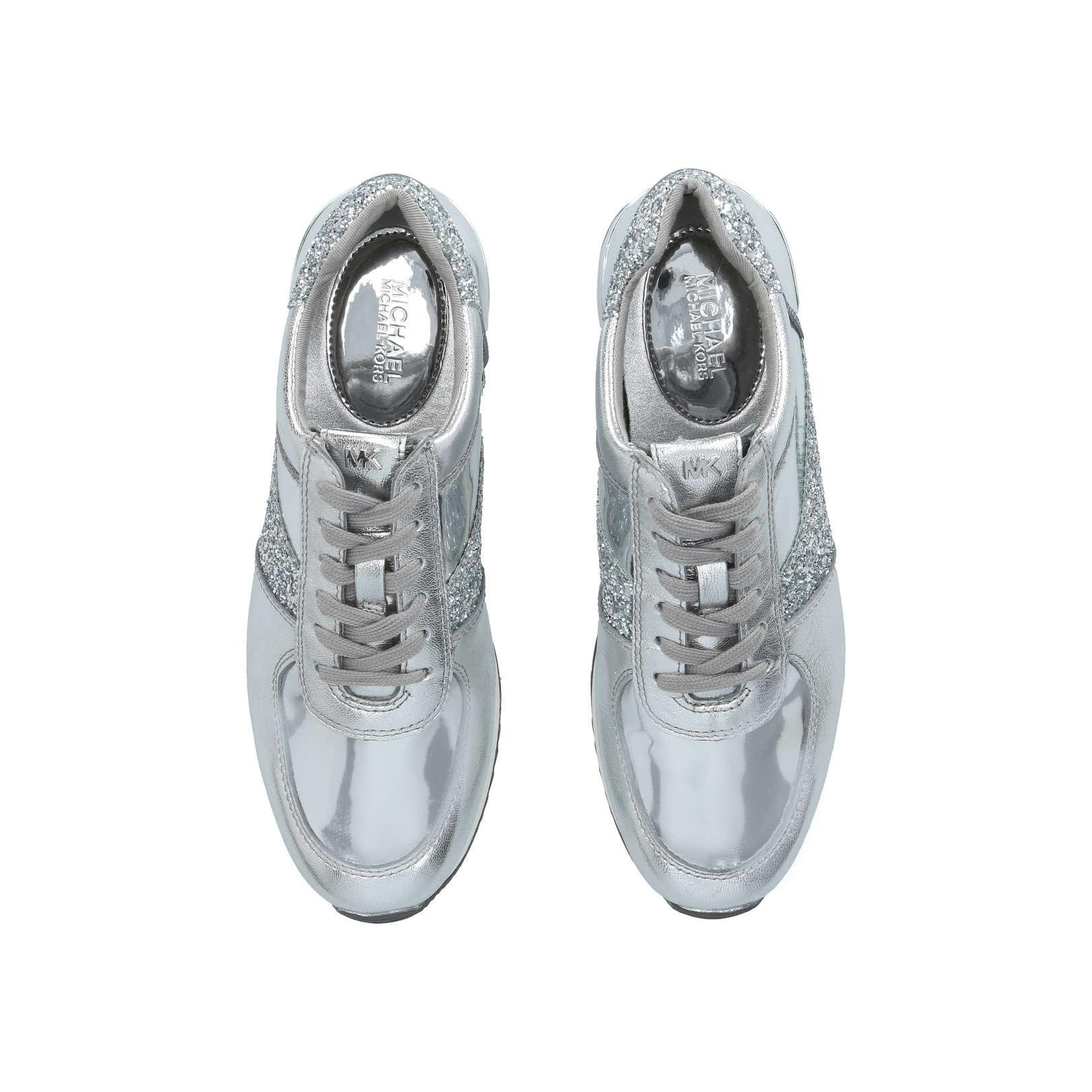 MICHAEL Michael Kors Leather Allie Wrap Trainer in Silver (Metallic)