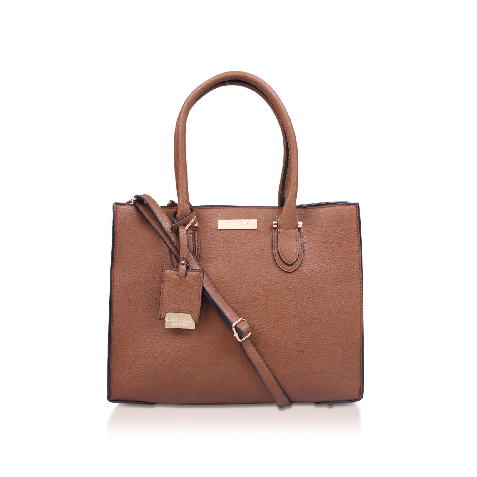 Carvela Kurt Geiger Synthetic Robyn Structured Tote in Tan (Brown)