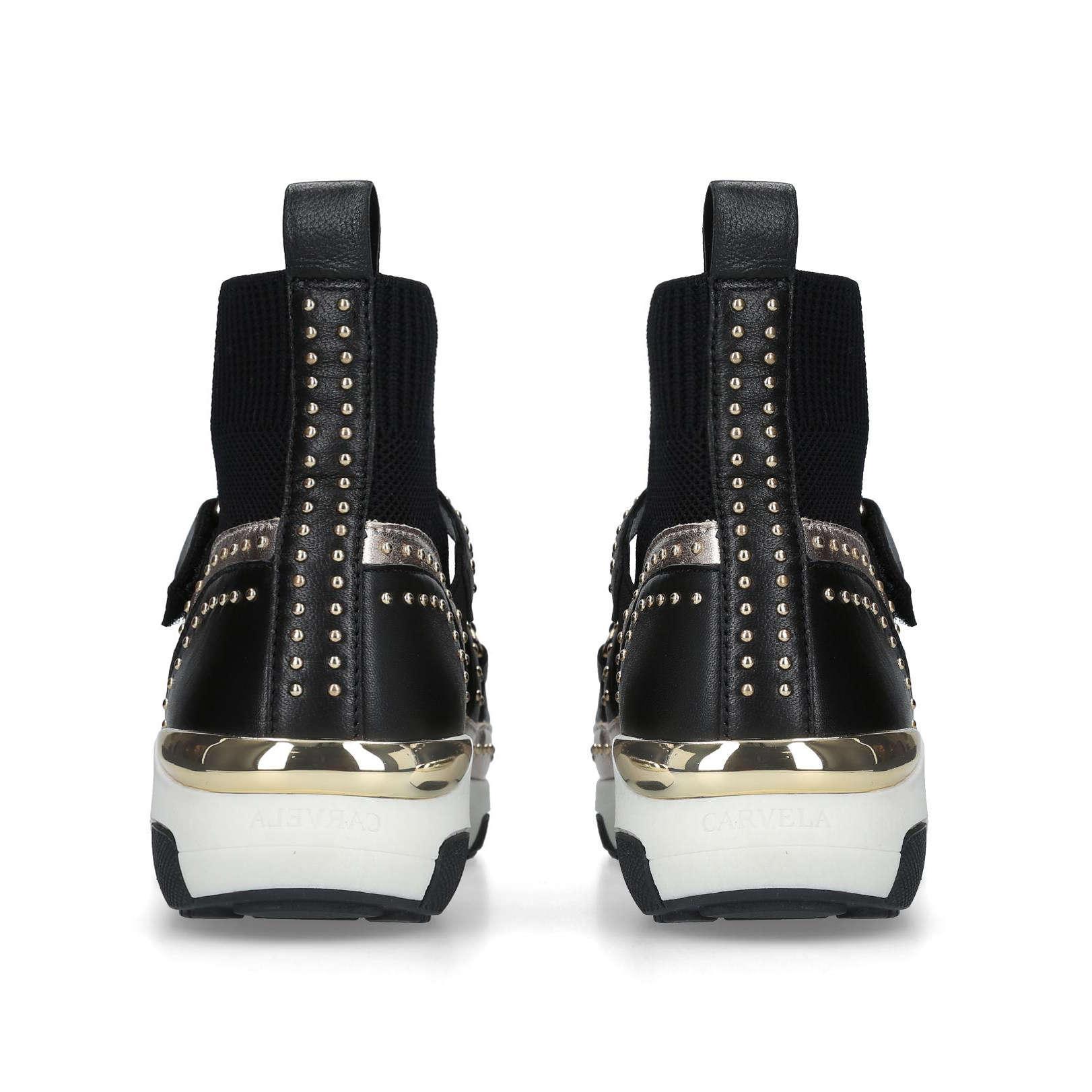 Carvela Kurt Geiger Leather 'listen' High Top Sock Trainers in Black