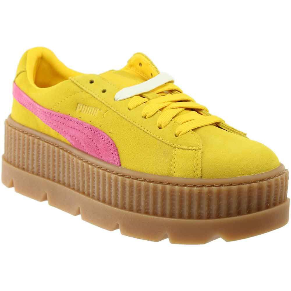 Lyst - PUMA Fenty By Rihanna Suede Cleated Creeper in Yellow 0997c2115