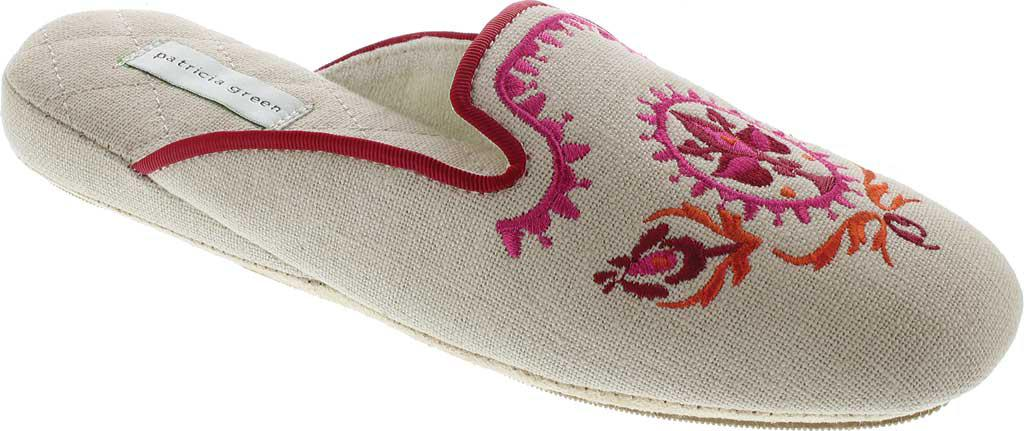 Patricia Green Linen Rosa Embroidered Slipper(Women's) -Blue Textile
