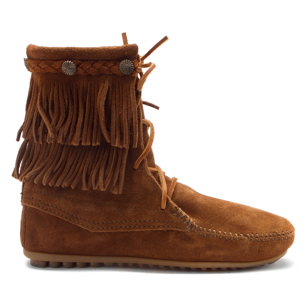 Lyst Minnetonka Double Fringe Tramper Boot In Brown