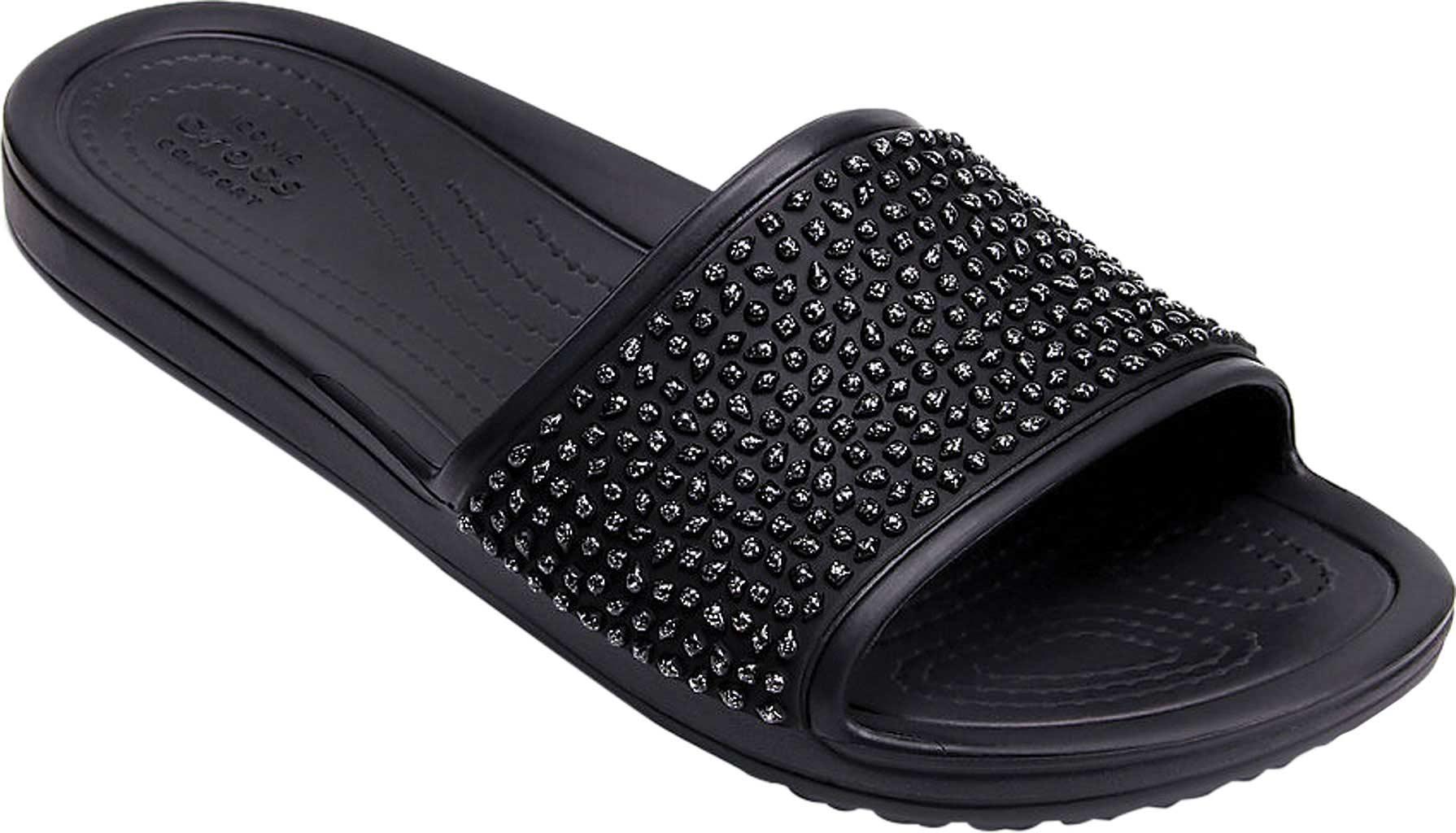 76acae49a07a Lyst - Crocs™ Sloane Embellished Slide in Black - Save 24%