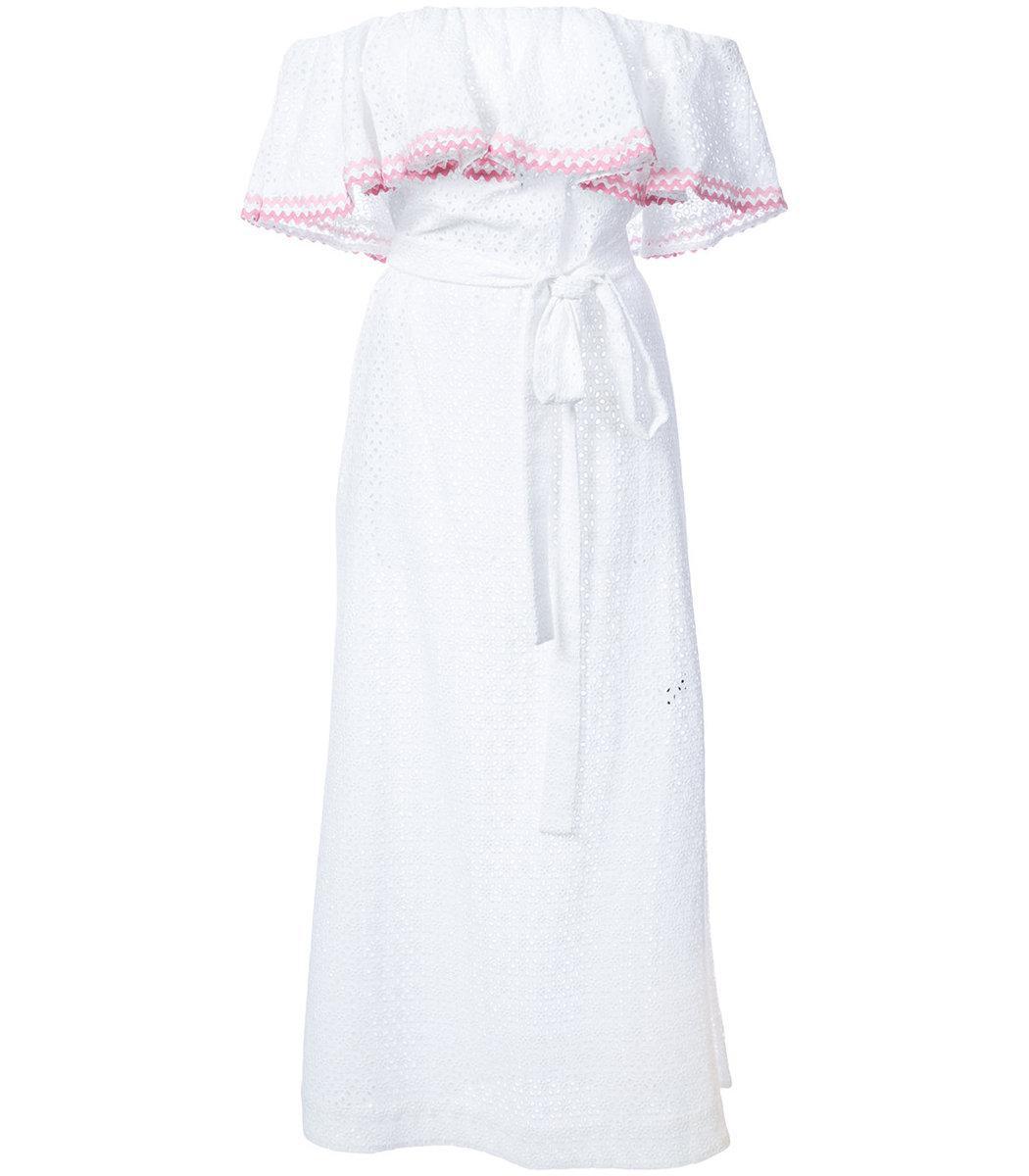 00a2a511ce Lyst - Lisa Marie Fernandez White Ric Rac Mira Flounce Eyelet Dress ...