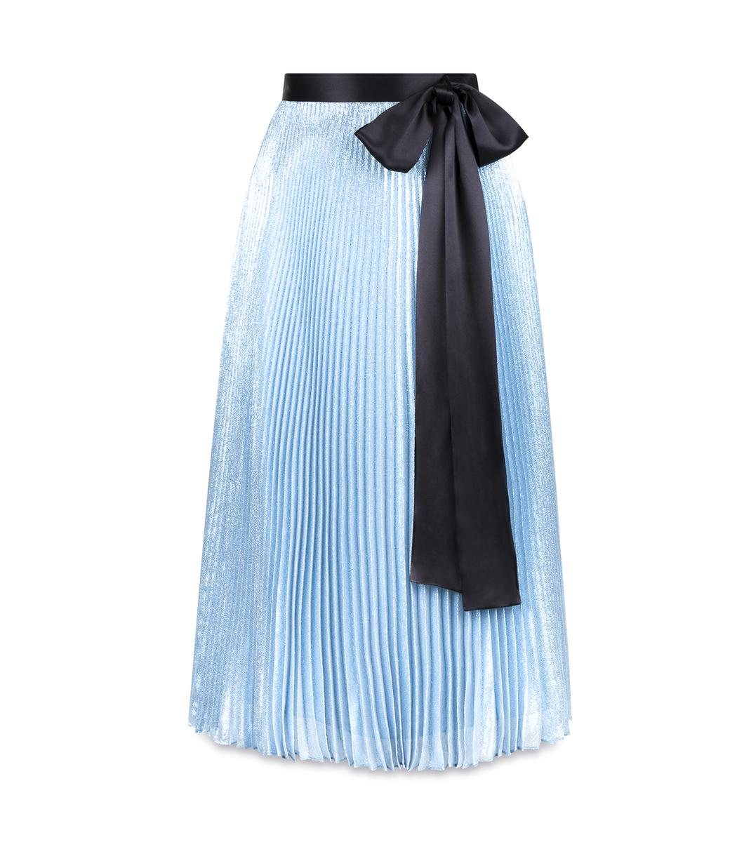 christopher blue lame pleated skirt in blue lyst