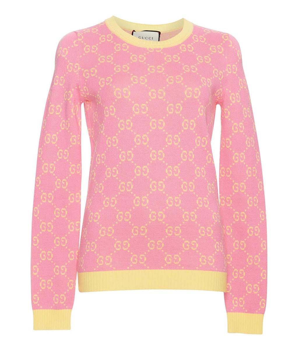 16f829402675a Gucci Yellow Pink Long Sleeve Crewneck Sweater