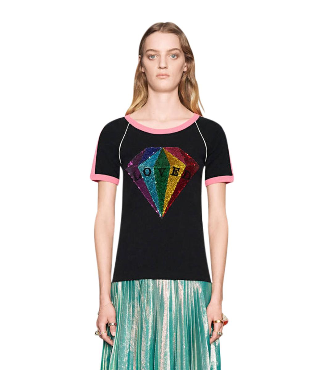 822af2aa Lyst - Gucci Black Sequin Diamond Cotton T-shirt in Black
