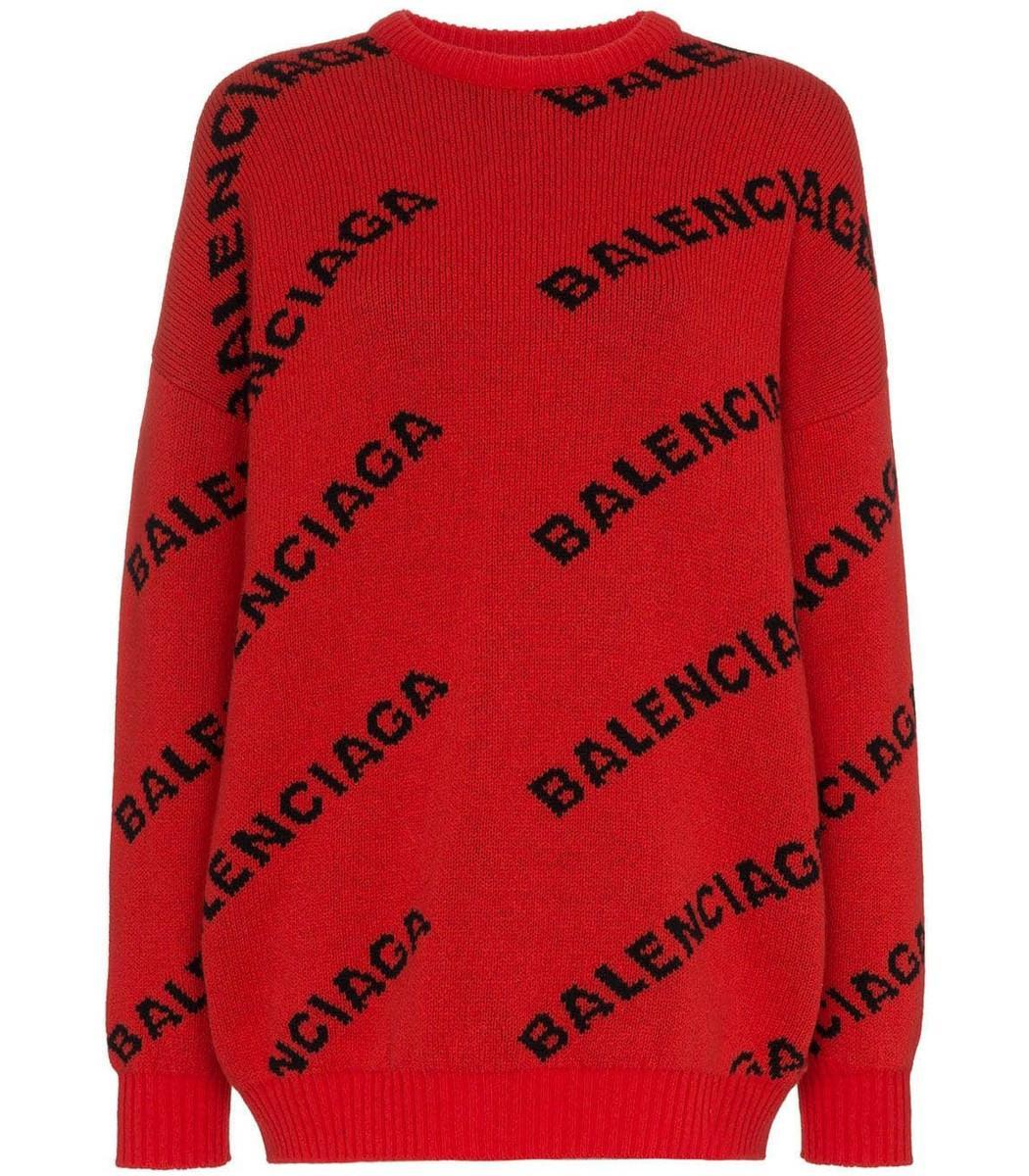 Balenciaga Logo Print Wool Jumper in