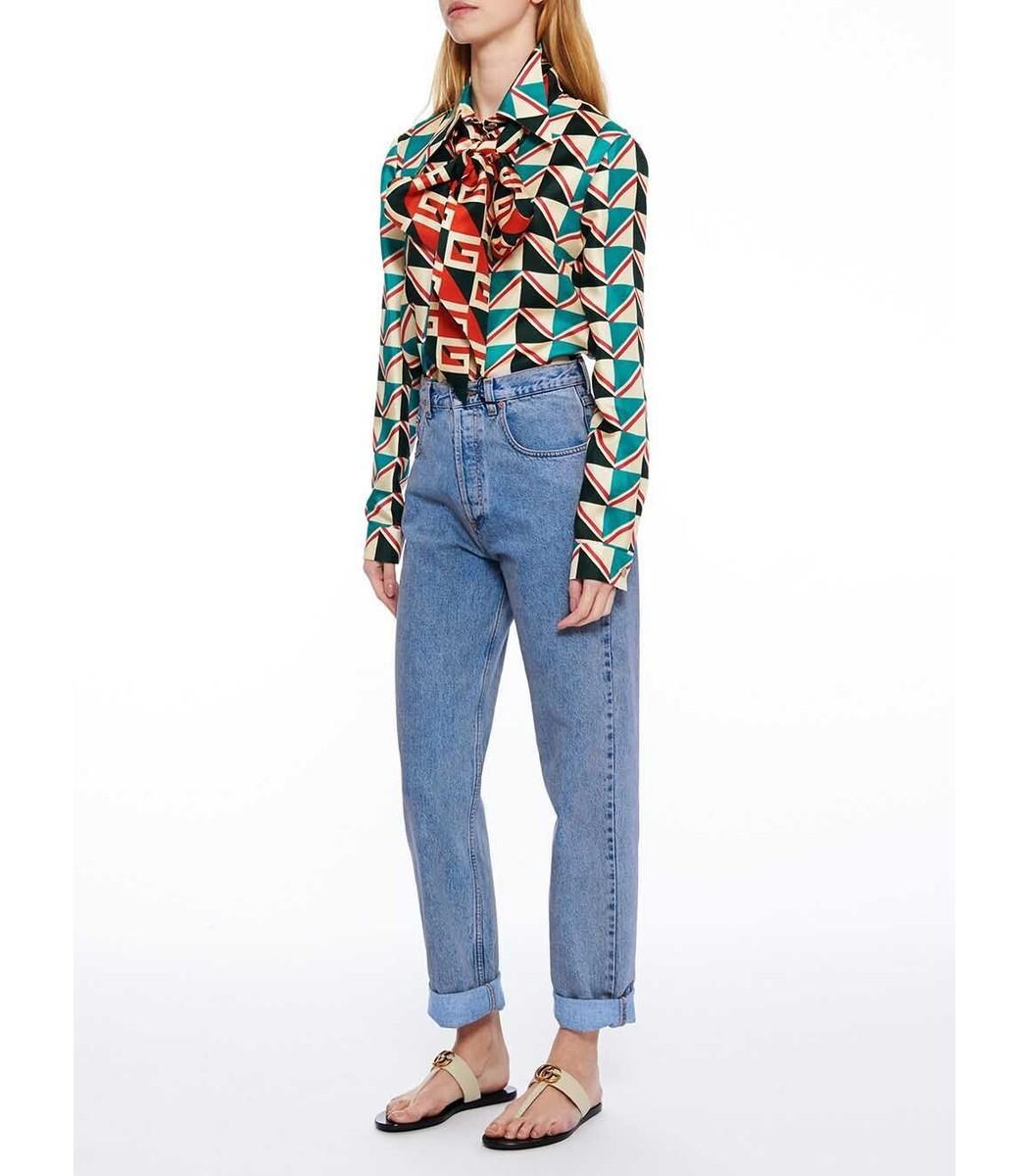 25e0fa63703 Lyst - Gucci Green Multicolor Pussy Bow Printed Silk Twill Shirt in ...