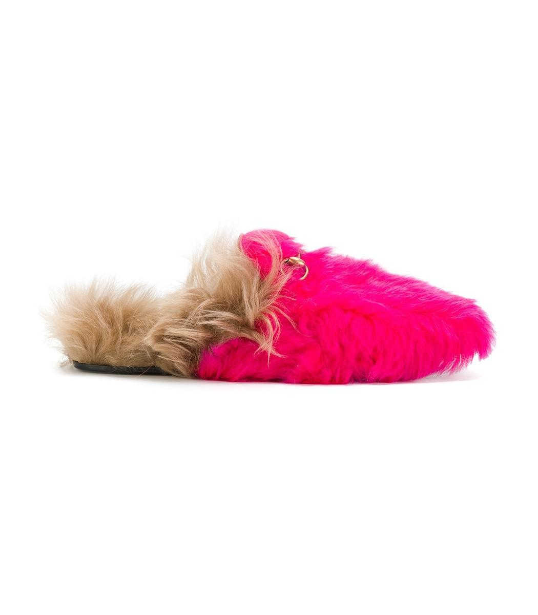 gucci pink fur slippers