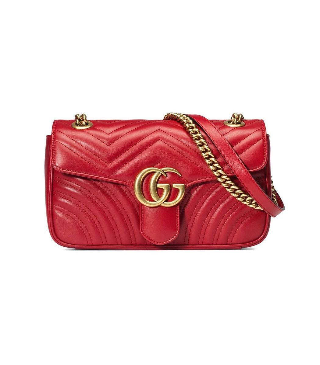 6fbcb1854c47 Lyst - Gucci GG Marmont Small Matelass' Shoulder Bag in Red