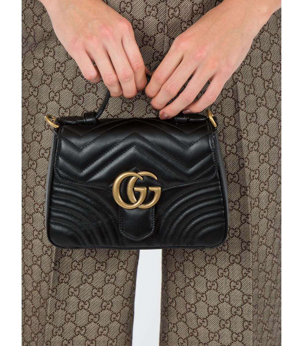 f05f91fcd8fcd4 Gucci Gg Marmont Small Top Handle Bag in Black - Lyst