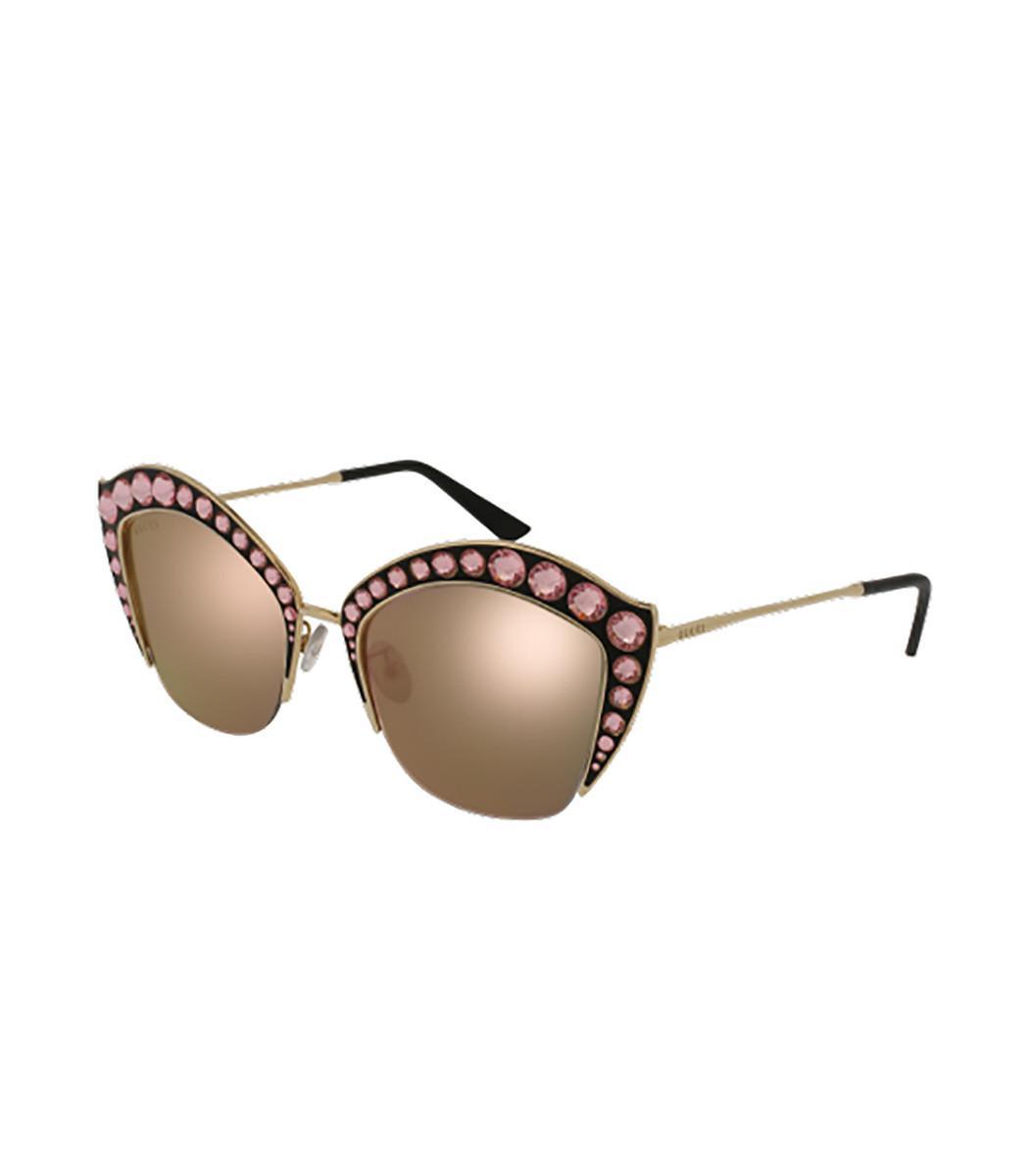 a76c5bd1675 Gucci - Metallic Gold silver Cat Eye Swarovski Sunglasses - Lyst. View  fullscreen