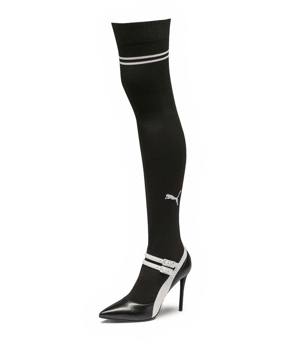 9a7e23a07fb Lyst - PUMA White Black Fenty X Mary Jane High Heel in Black