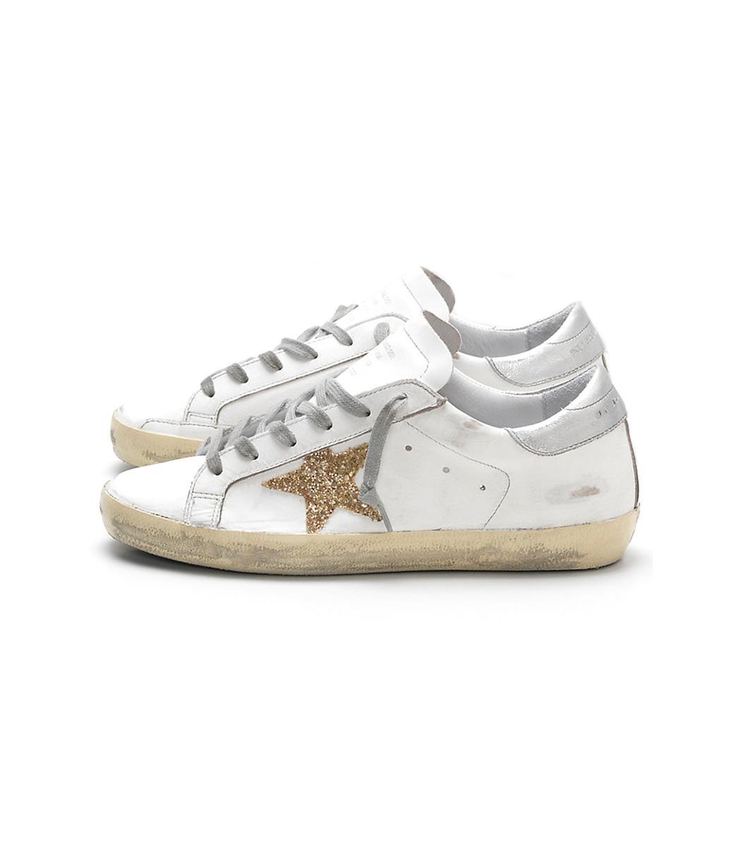 White Leather Gold Glitter Star Superstar Sneaker