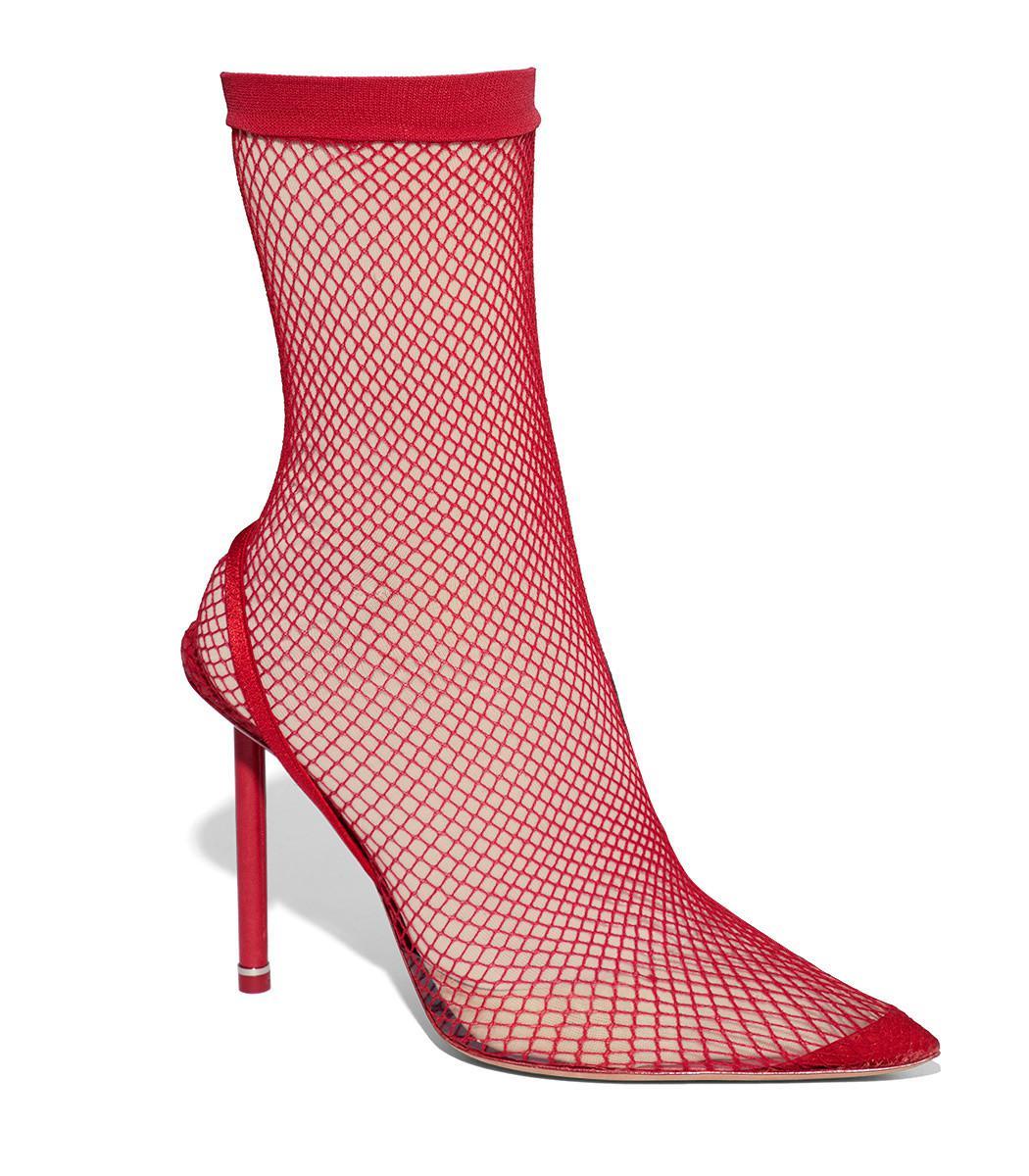 b24a64c298e Alexander Wang Red Caden Fishnet Ankle Boots