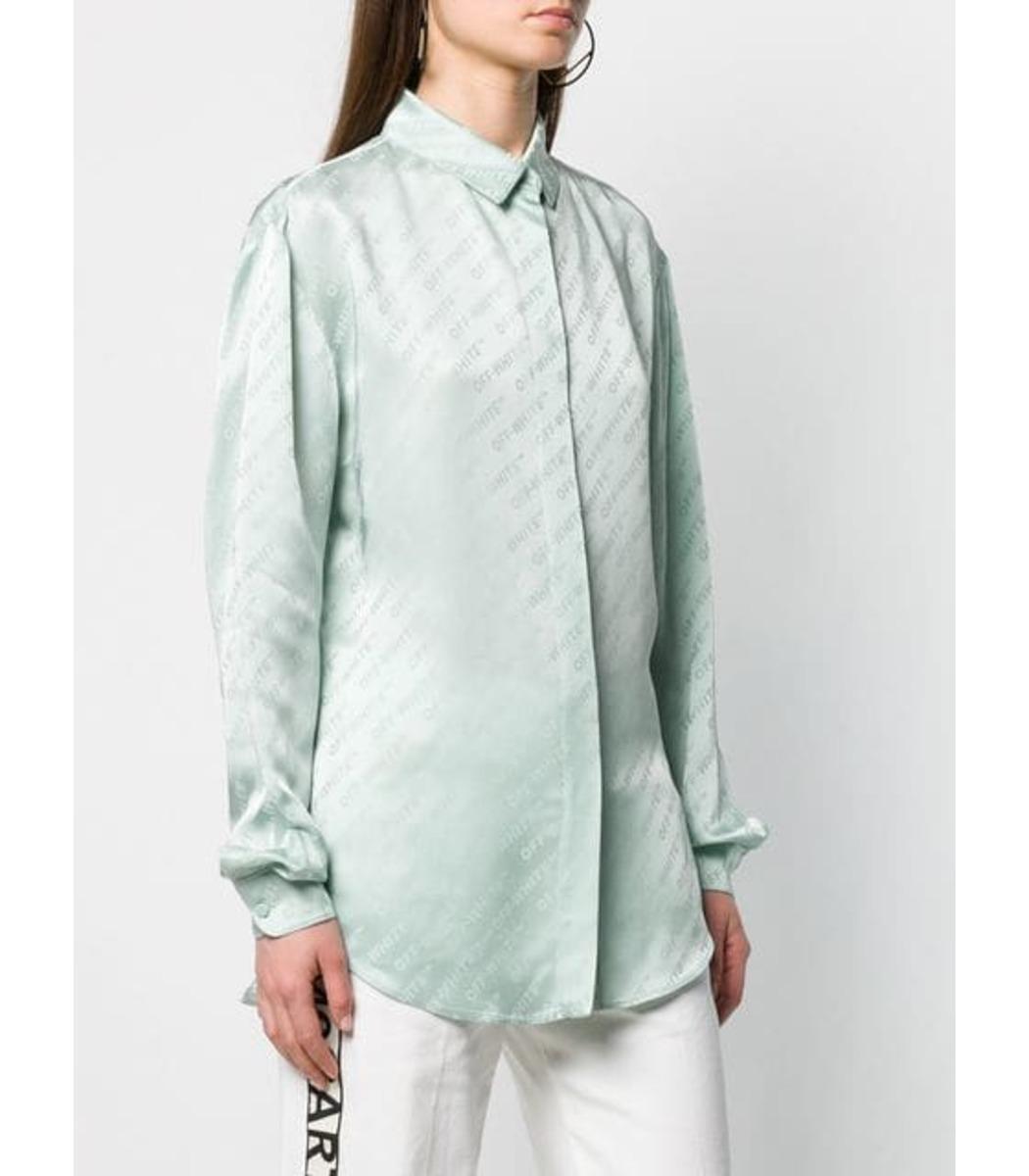 368de6d0b73680 Off-White c/o Virgil Abloh Silk Logo Button Down Shirt - Lyst