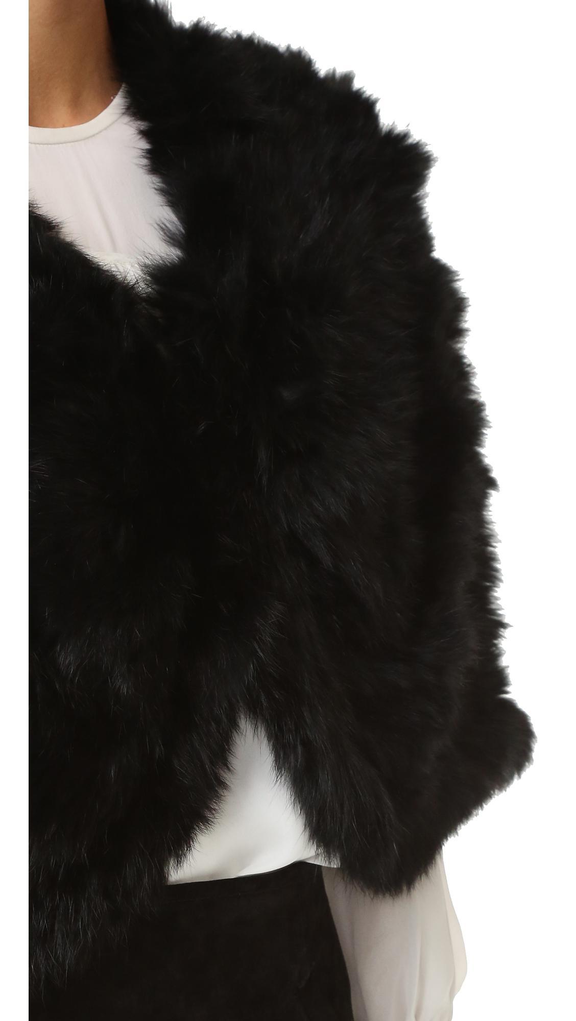 Lyst Adrienne Landau Knit Fur Capelet In Black