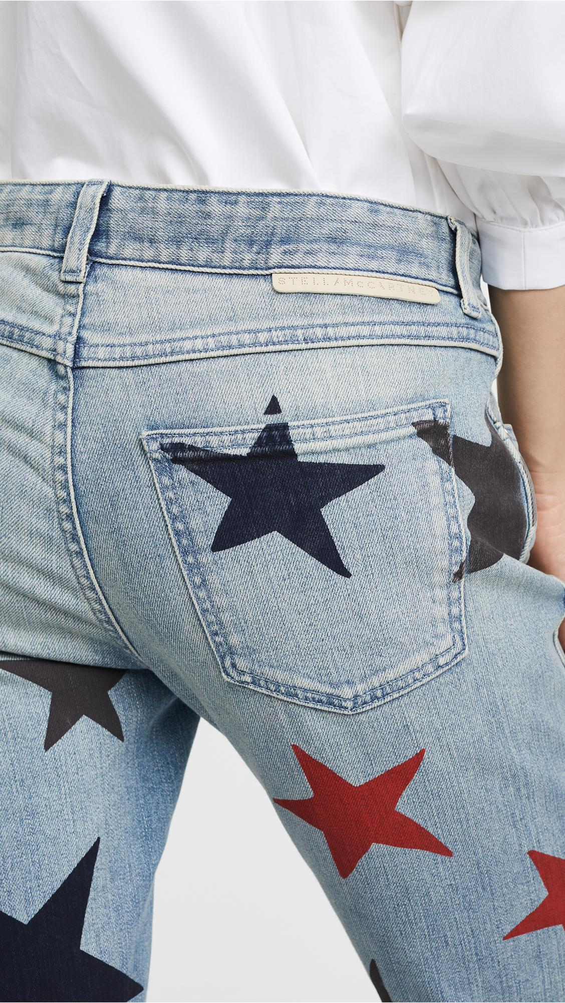 Stella McCartney Denim The Skinny Boyfriend Jeans With Stars in Blue