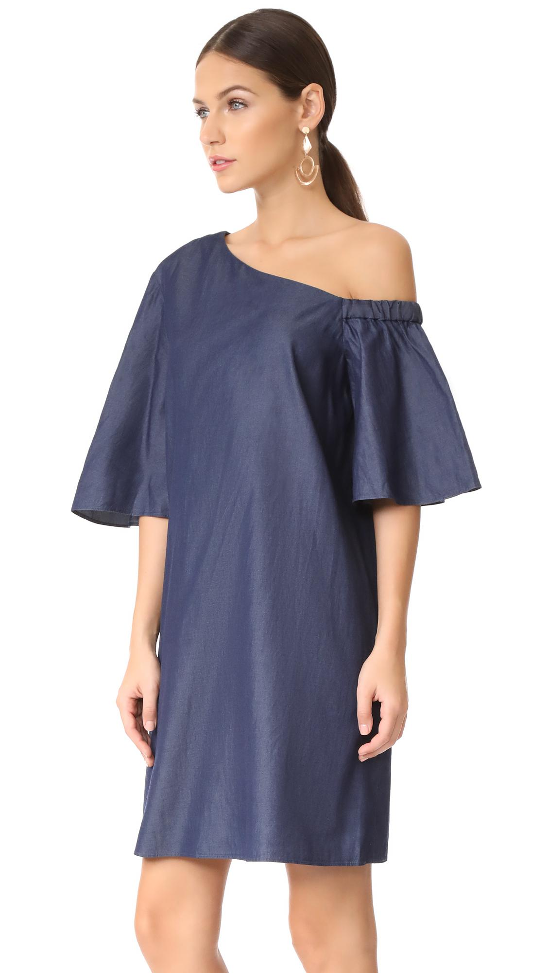 f673858023 Lyst - Tibi One Shoulder Bell Sleeve Dress in Blue