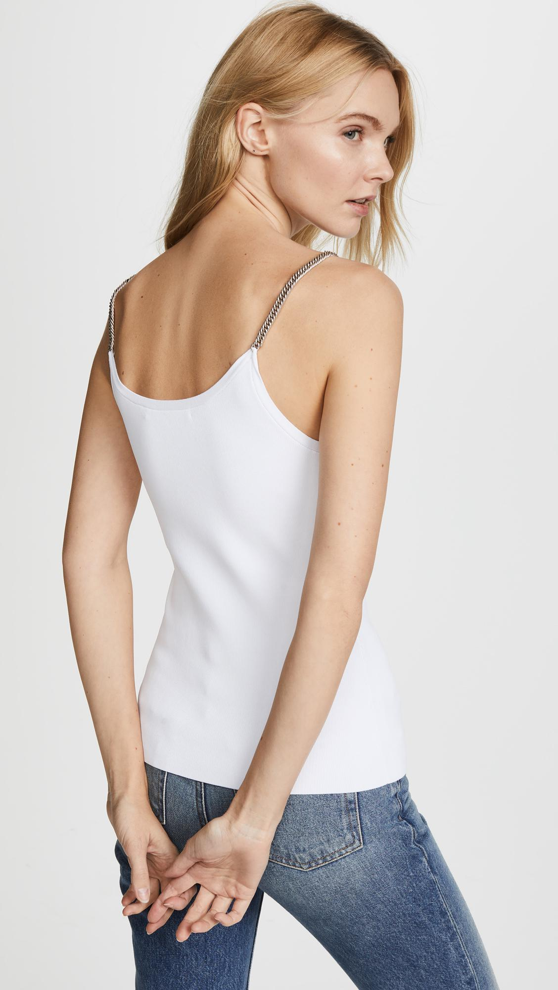 Alexander Wang Synthetic Ribbed Tank With Chain Straps in White