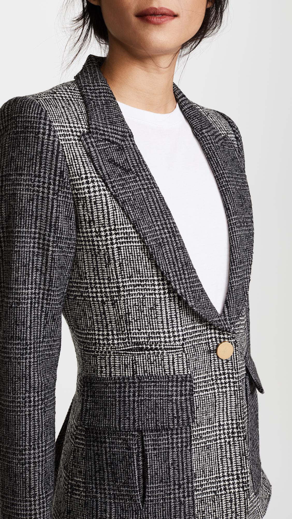 Smythe Wool Mixed Plaid Peaked Lapel Blazer in Grey