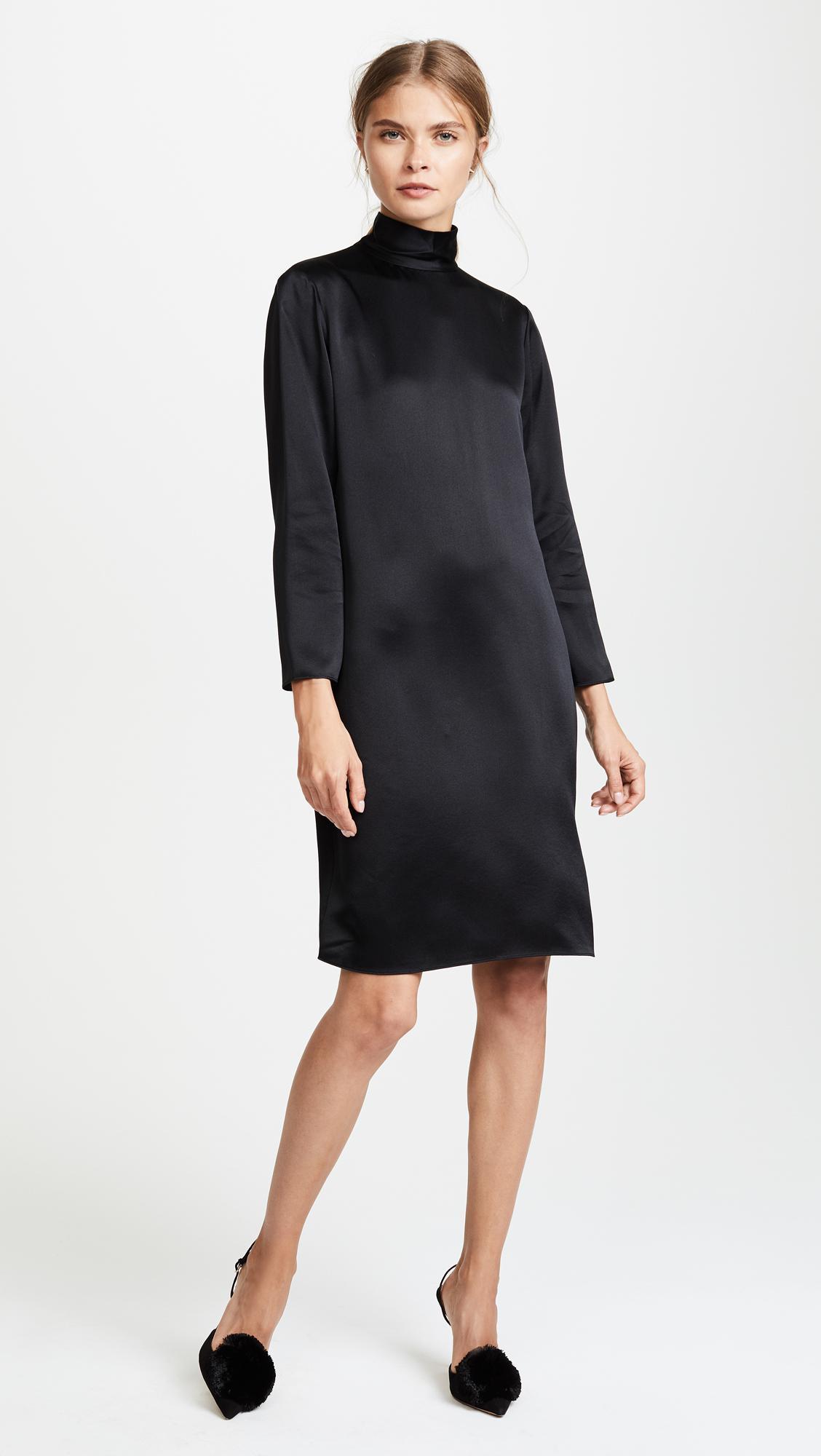 Vince Silk Mockneck Dress In Black Lyst