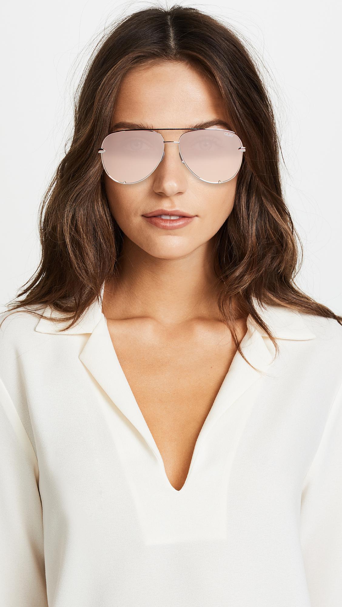 fd5db5fa73 Lyst - Quay X Desi Perkins High Key Mini Sunglasses in Metallic