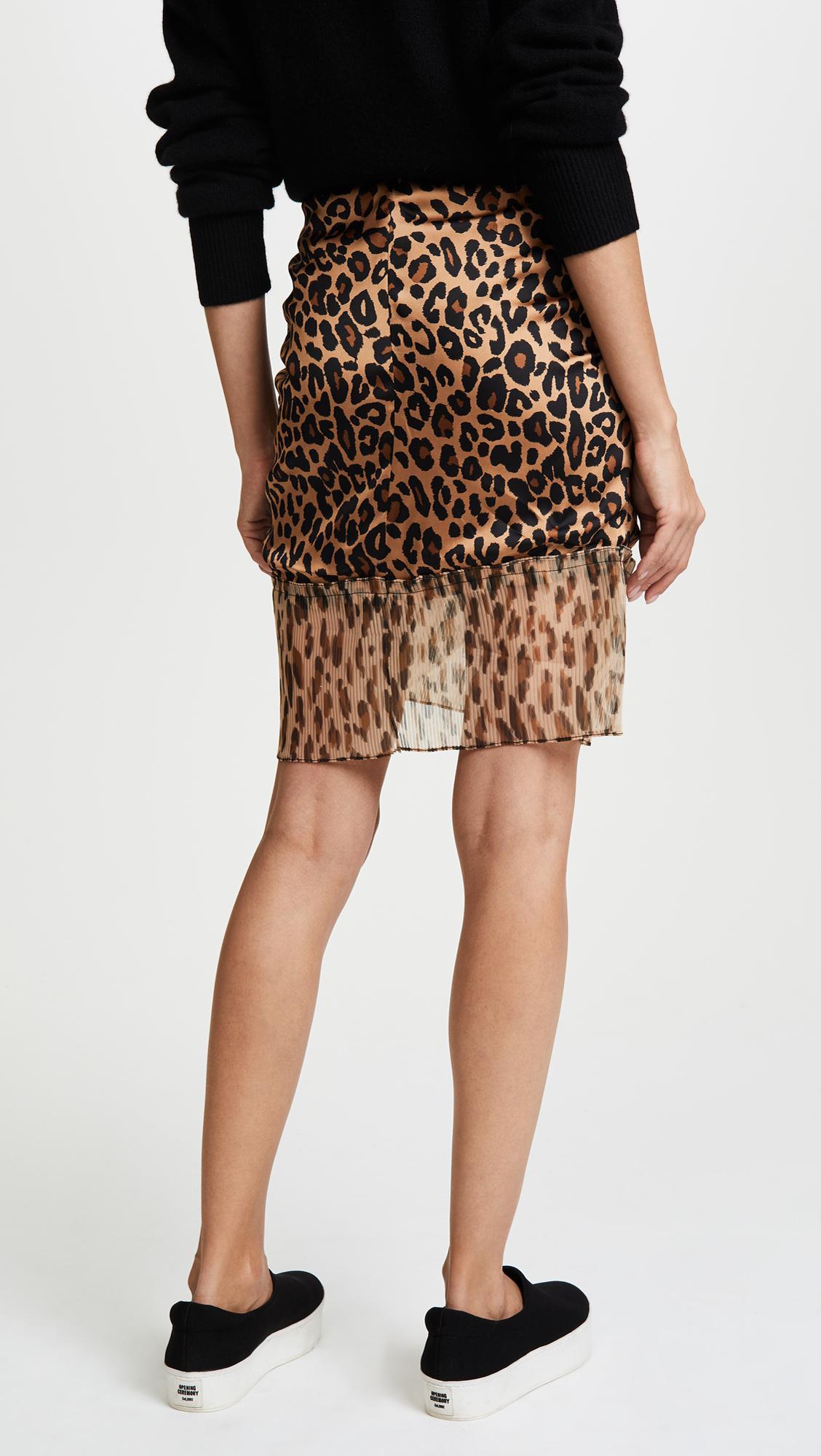 d3dea042e6 SJYP Leopard Pleats Detail Mini Skirt in Natural - Lyst