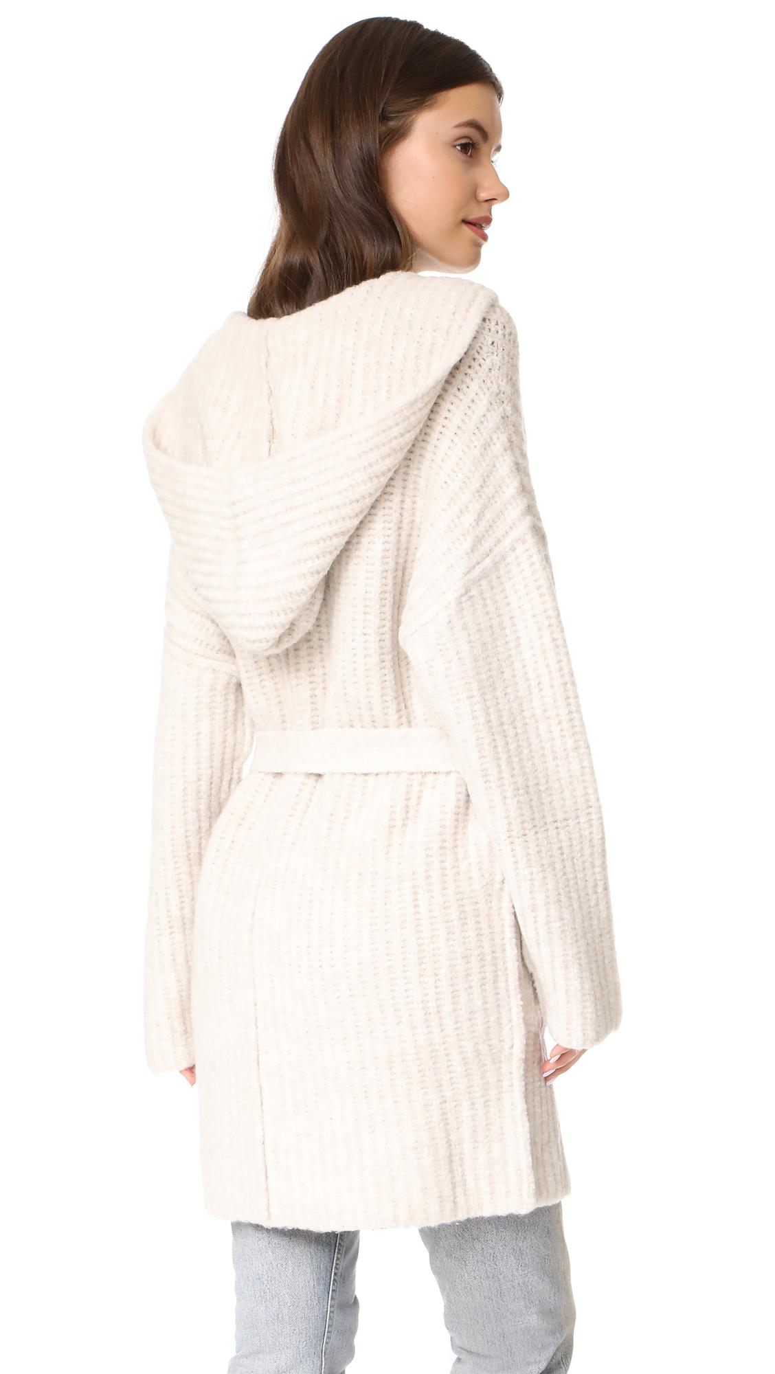Lyst Atm Hooded Sweater Coat In White