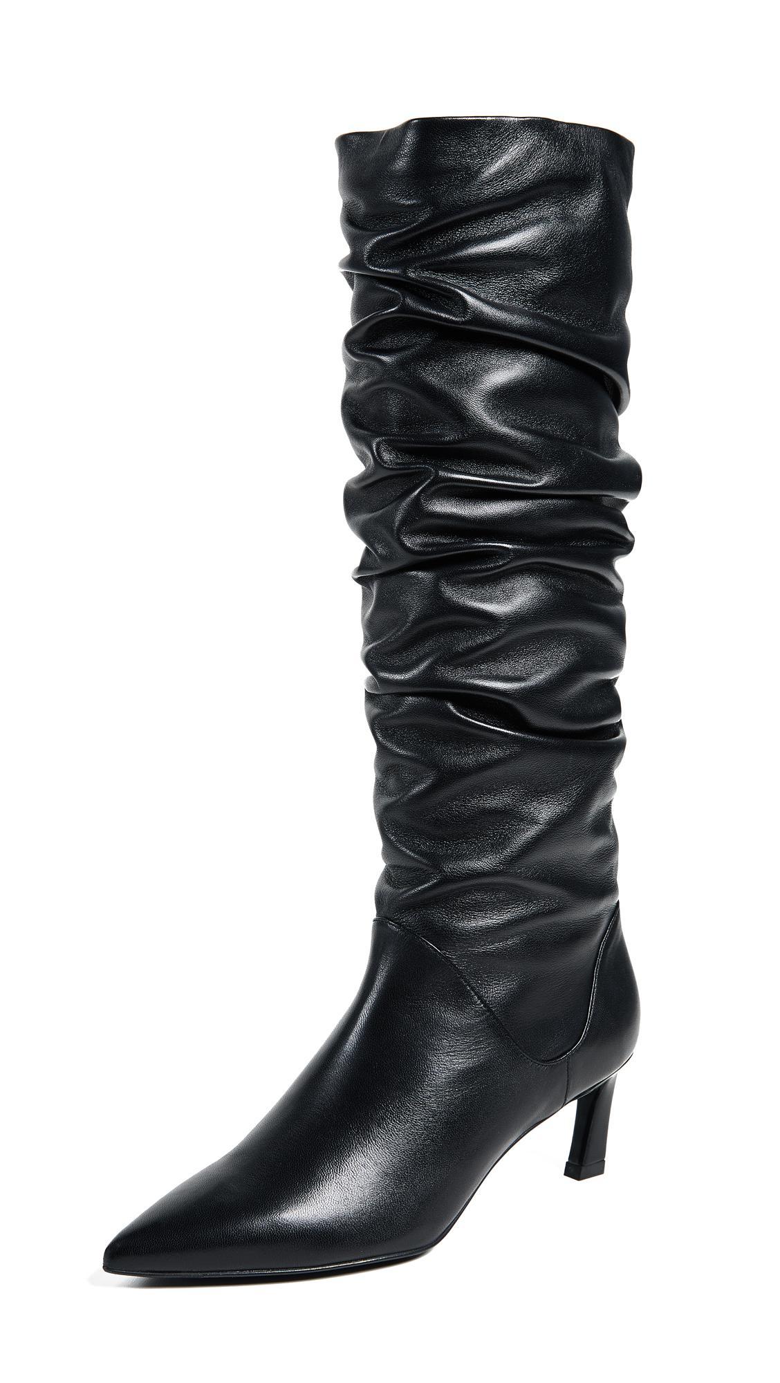 Stuart Weitzman Leather Benatar Tall Scrunch Boots in Black