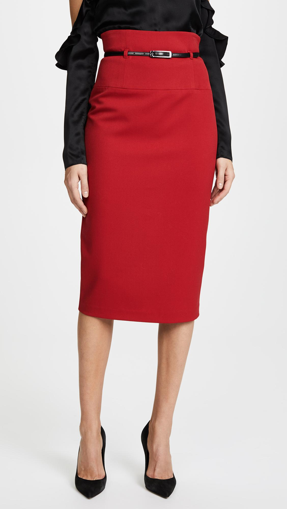 49706d6624 Lyst black halo high waisted pencil skirt in red jpg 1128x2000 Halo skirt