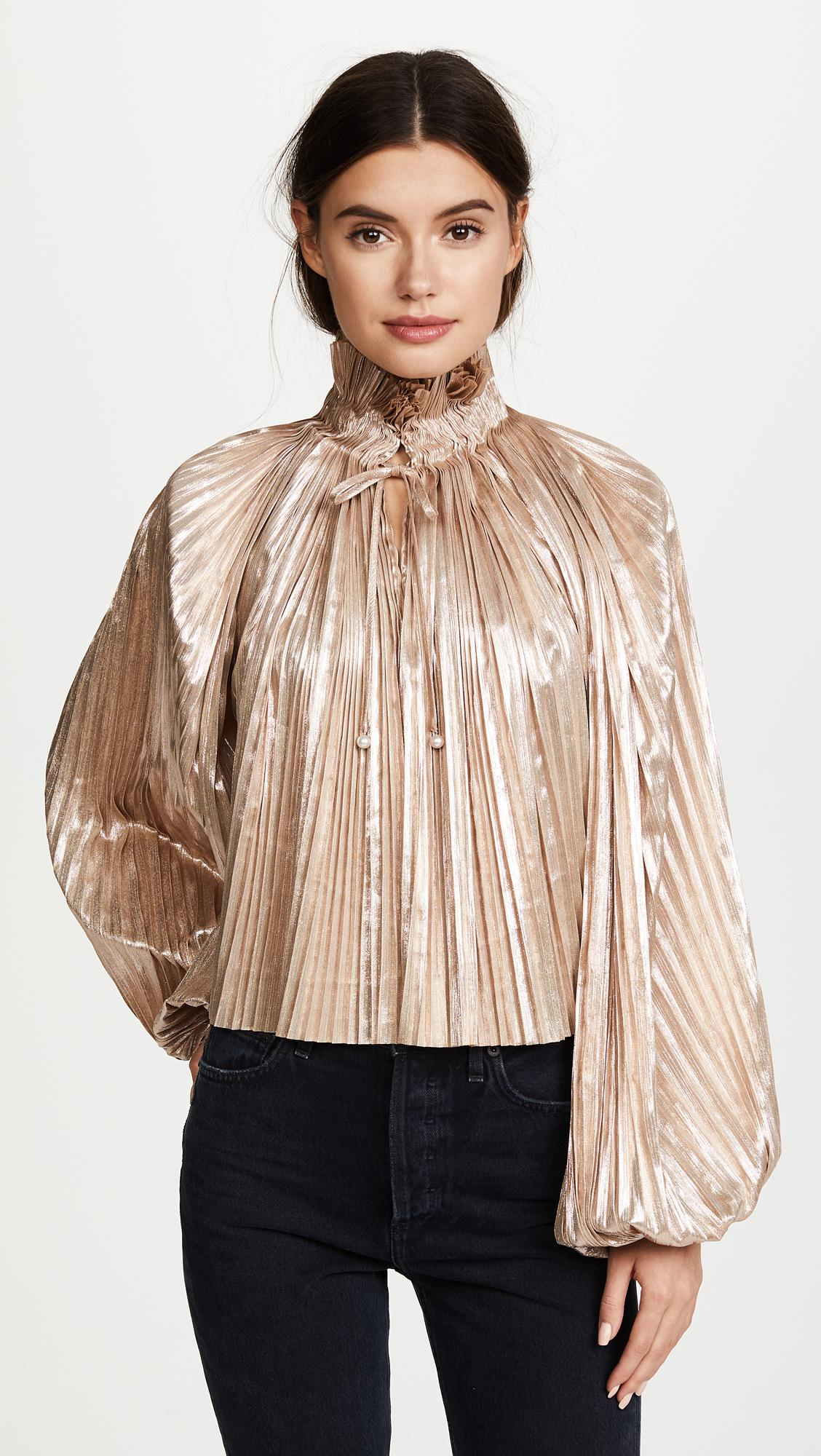 Opening Ceremony Fall 2015: Opening Ceremony Foil Pleated Bishop Sleeve Top