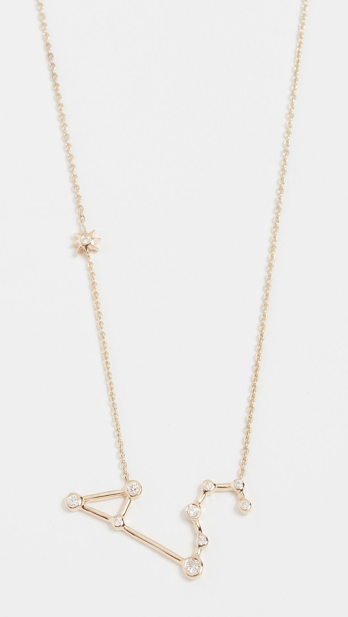 Lulu Frost 14k Gold Leo Necklace with White Diamonds zOCjL