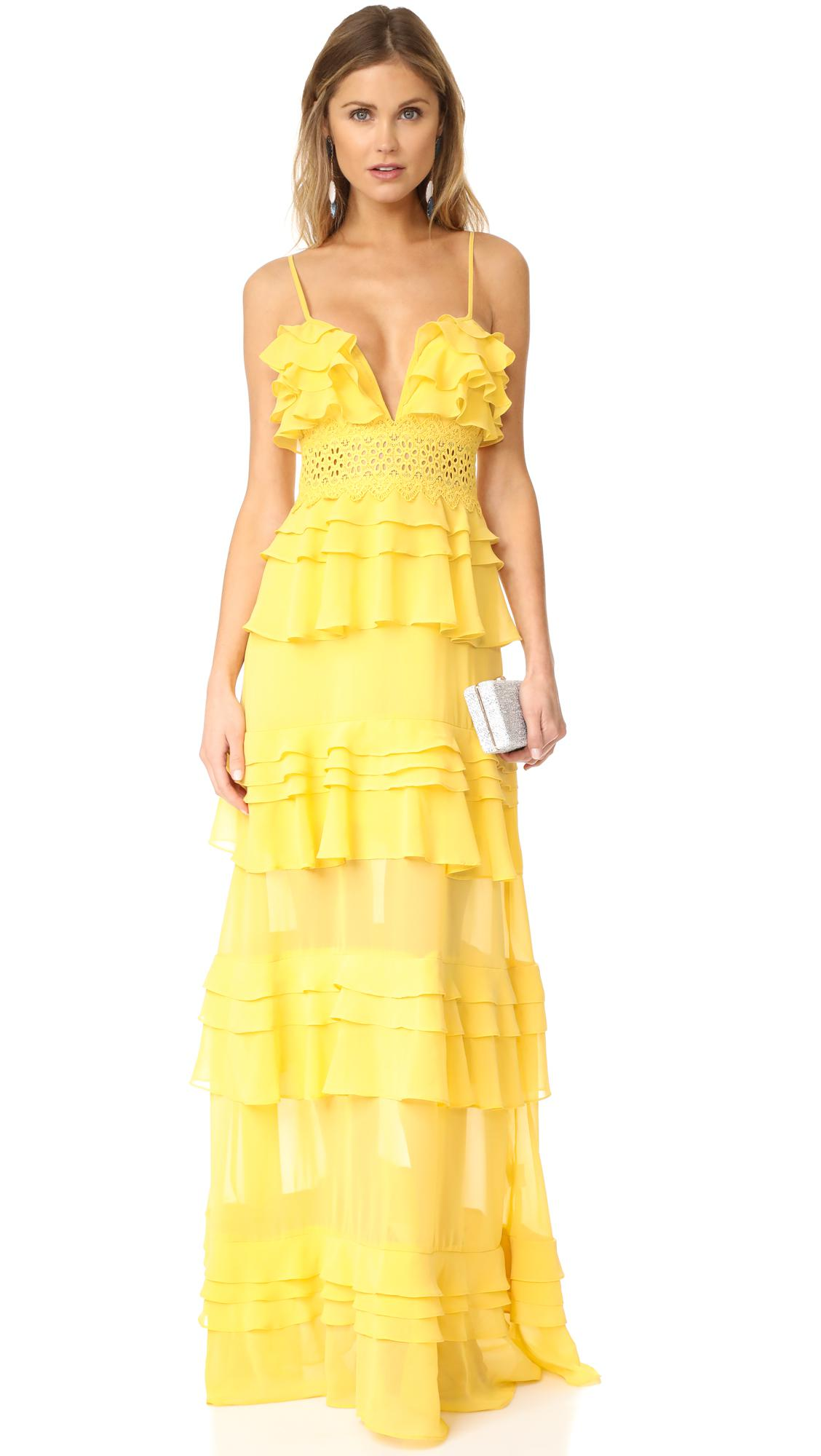 lyst  glamorous tiered dress in yellow