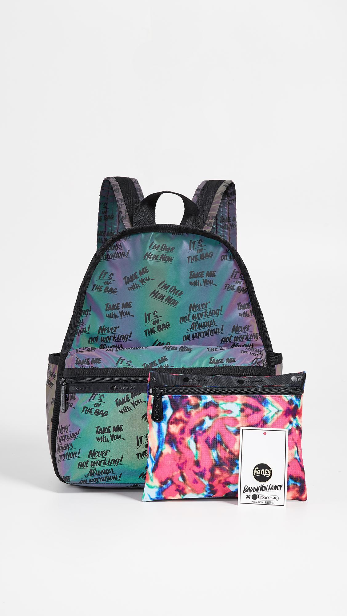 338437a038 LeSportsac Black X Baron Von Fancy Flash Reflective Backpack