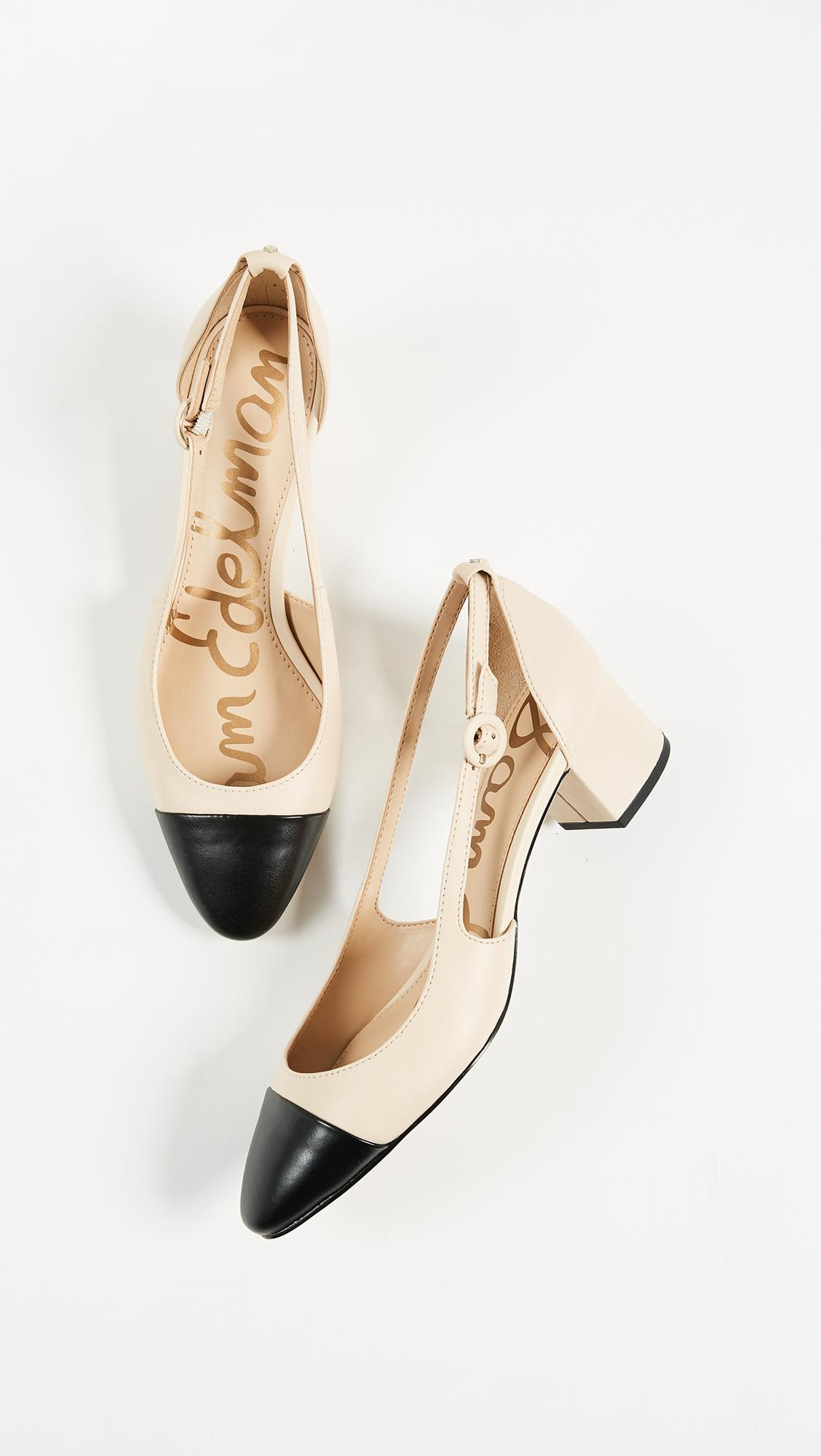 Sam Edelman Womens Leah Cap Toe Block Heel Pumps Beige Black Size 4