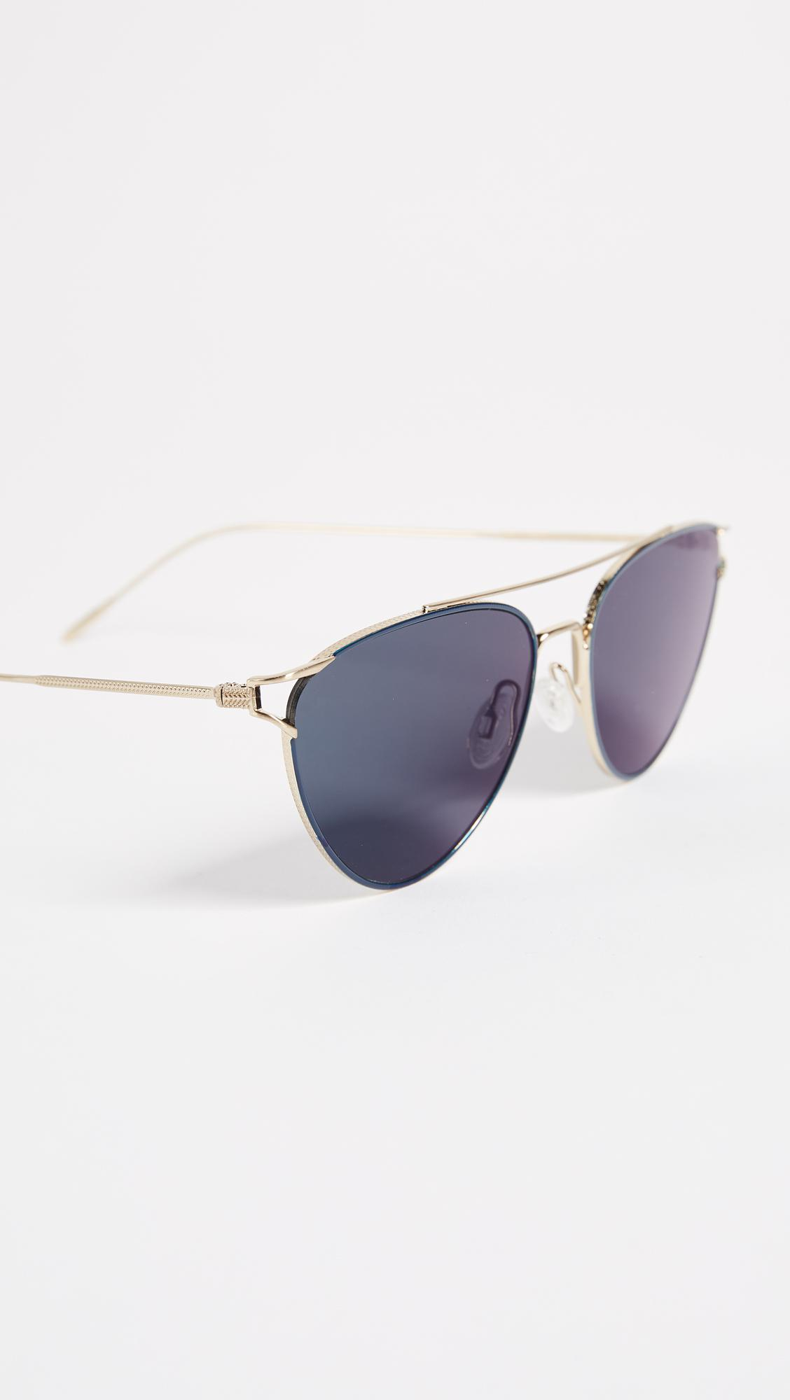 Oliver Peoples Floriana Sunglasses in Brushed Soft Gold/Teal Blue (Blue)