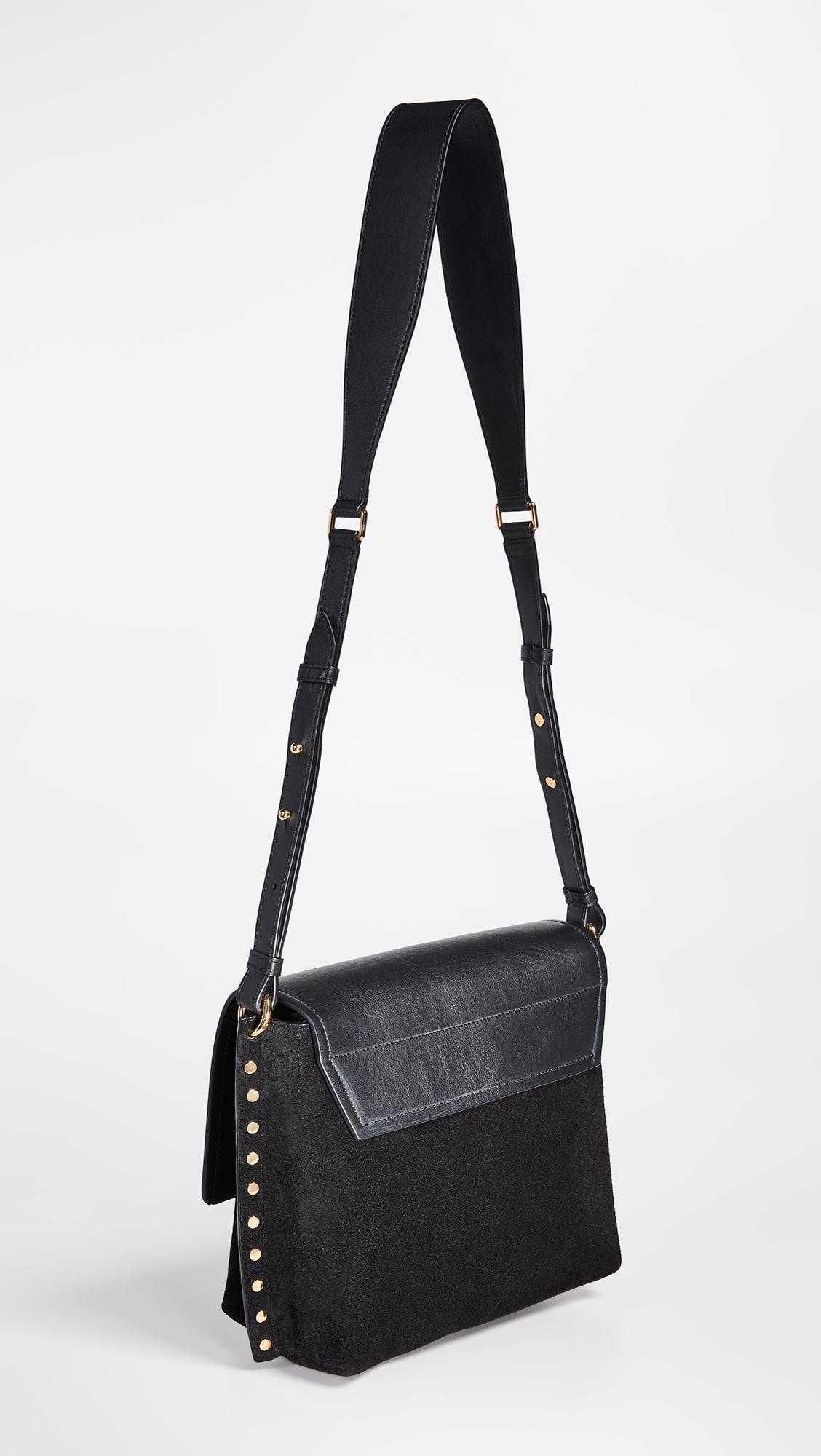 Isabel Marant Leather Asli Cross Body Bag in Black