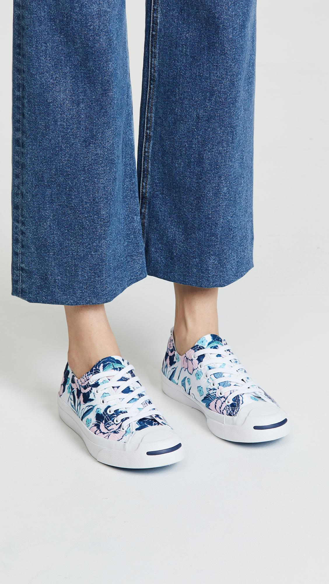 Converse Canvas Jack Purcell Floral Print Sneakers in White/Cherry Blossom (Blue)
