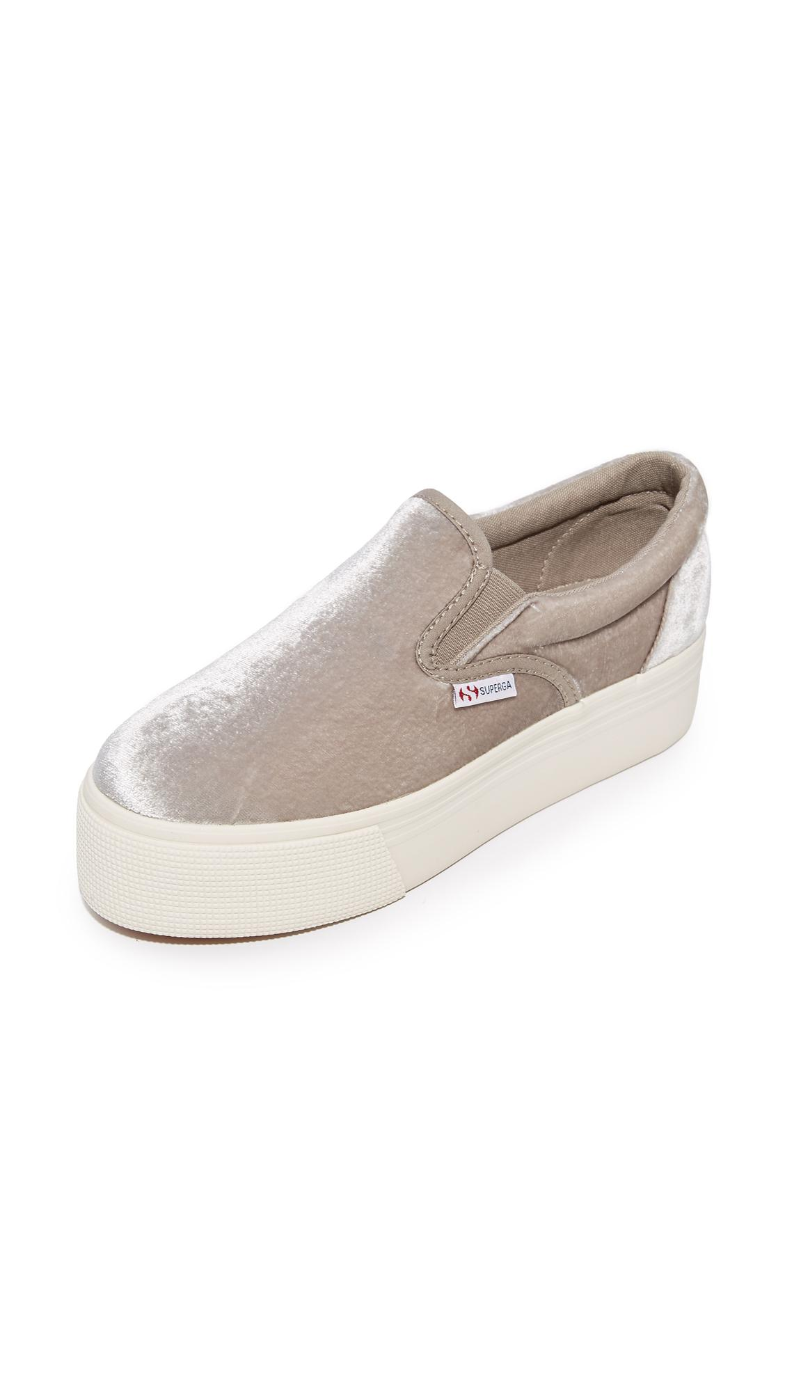Superga Velvet Platform Sneaker In Grey Women's Shoes