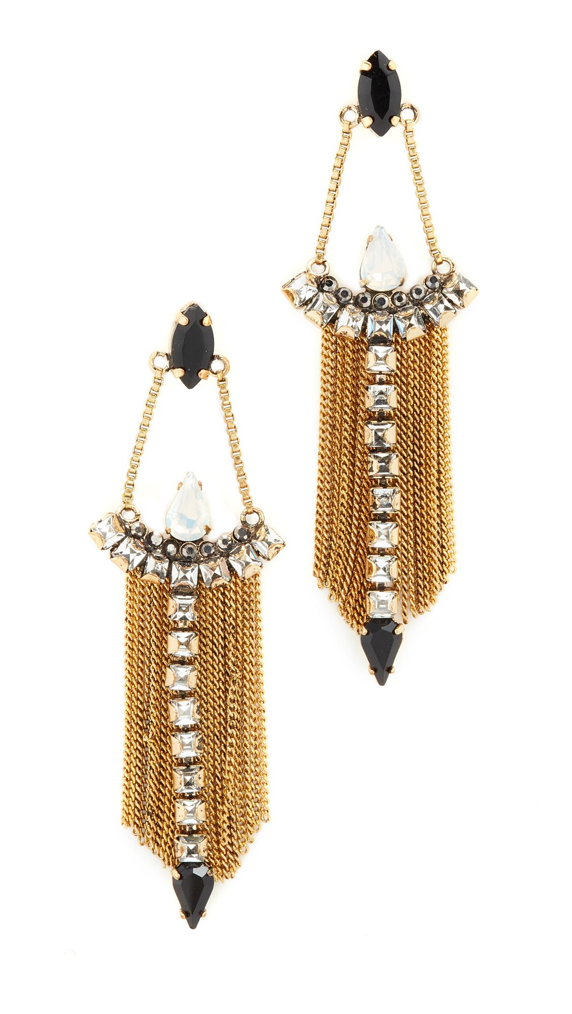 Lyst rebecca minkoff clara fringe chandelier earirngs gallery arubaitofo Images