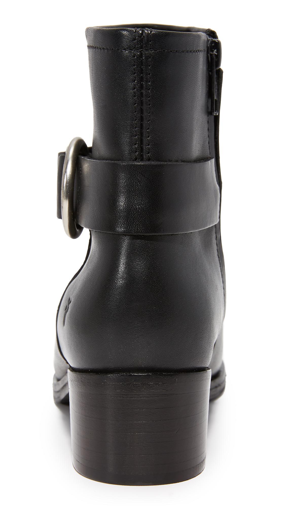 Frye Leather Kristen Harness Short Booties in Black