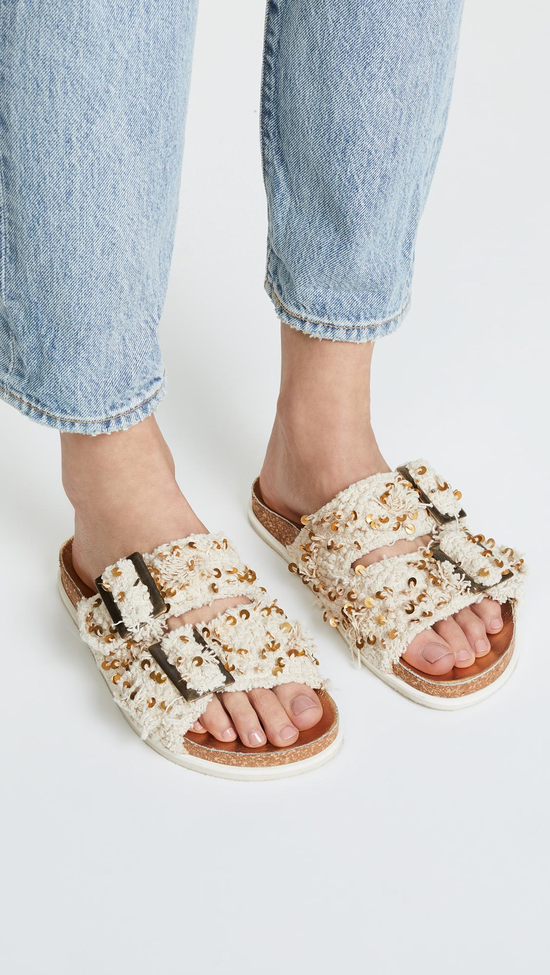 0d28ac9549e Lyst - Free People Bali Footbed Slides