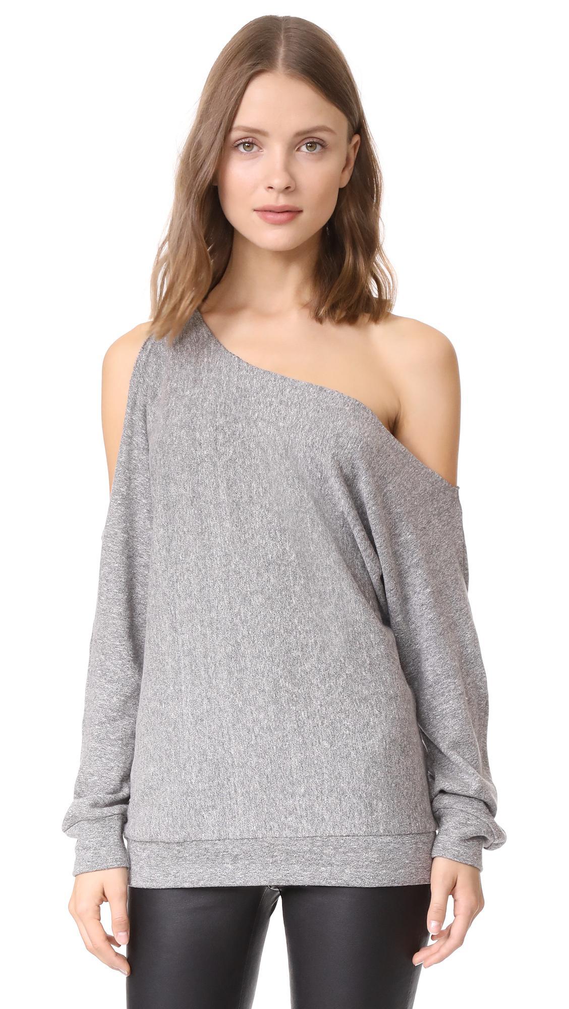 lyst lanston one shoulder pullover in gray. Black Bedroom Furniture Sets. Home Design Ideas