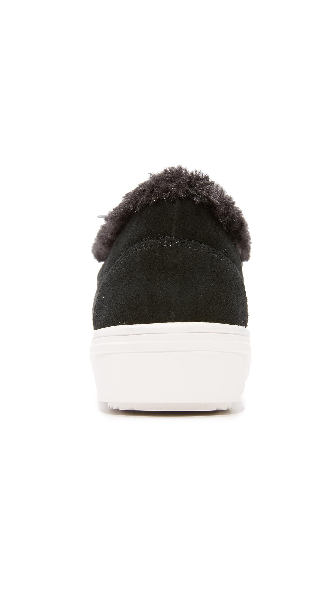 Steven by Steve Madden Cuddles Faux Fur Sneakers in Black